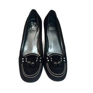 Stuart Weitzman Black Suede Loafer Heels w/ Tassel